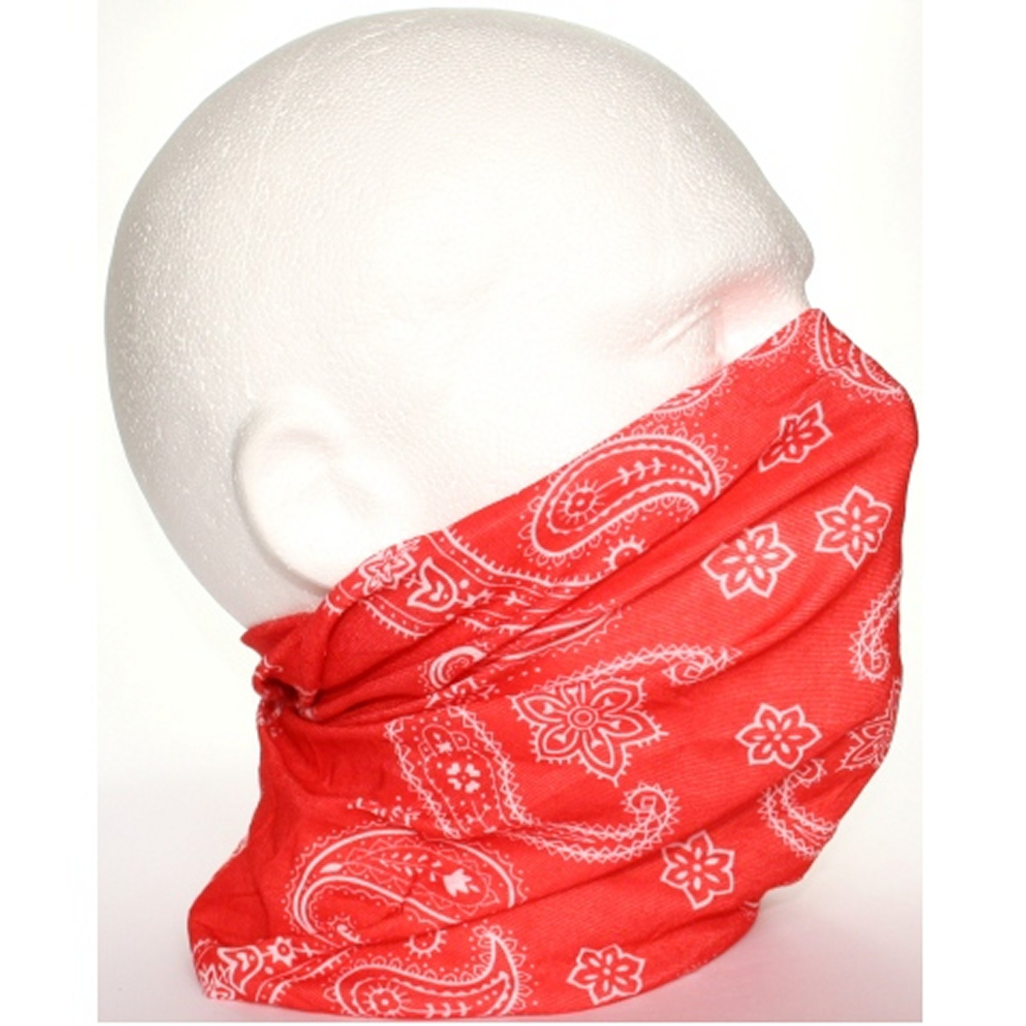 Red White Paisley Neck Tube Snood Scarf