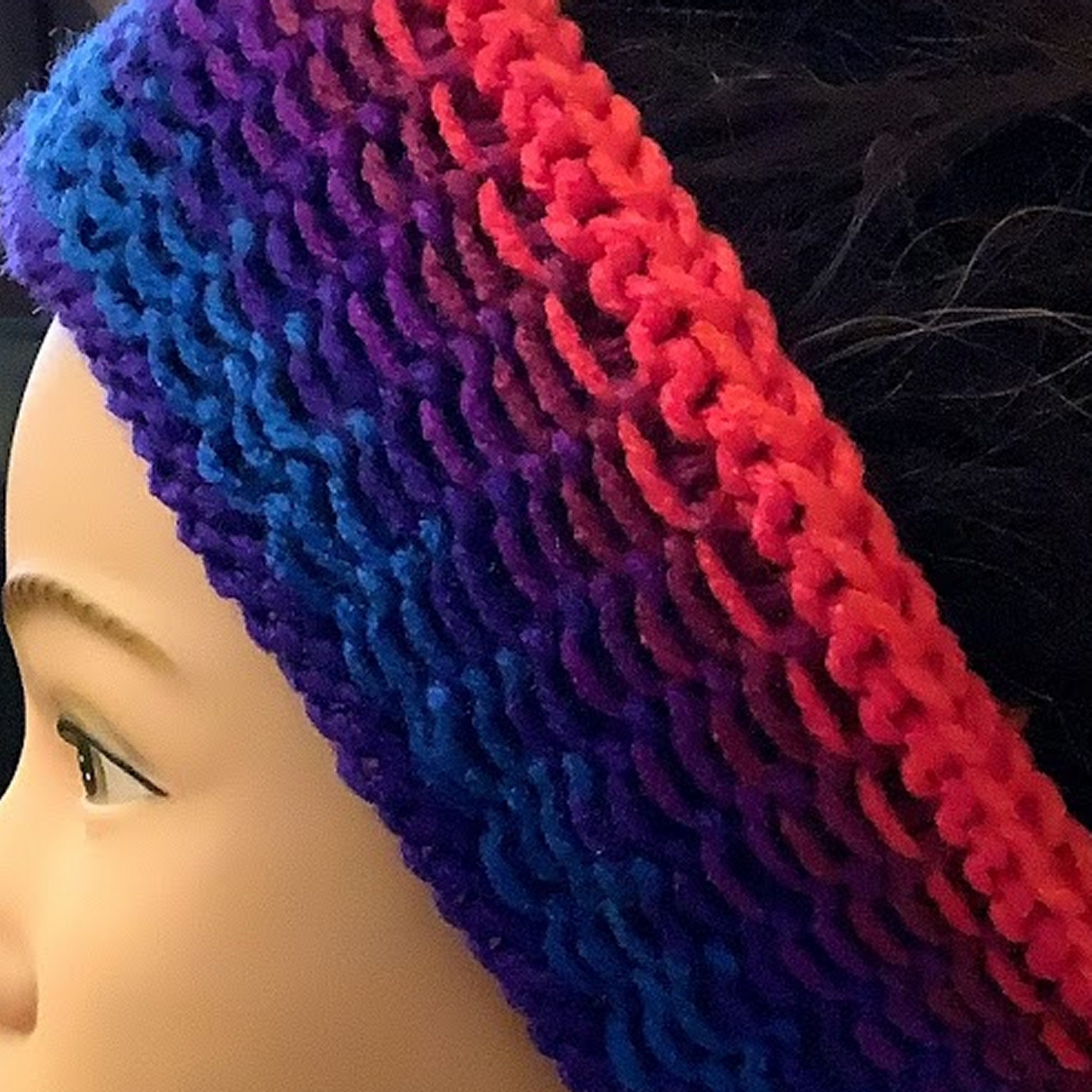 Hand Knitted Headband Bold Stripe Neon Pink