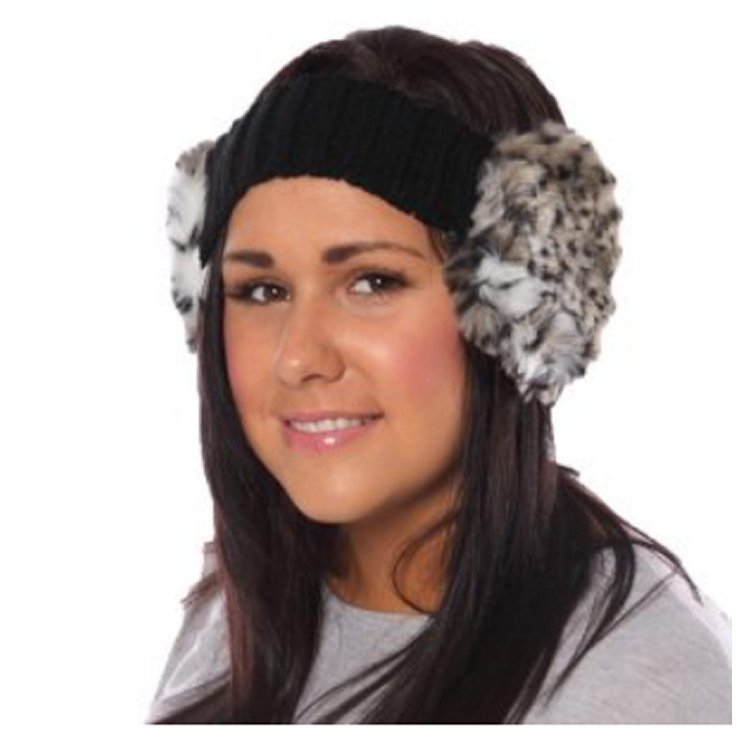 Knitted Earmuffs Headband Faux Fur Black Beige  63f3c4ef5e0