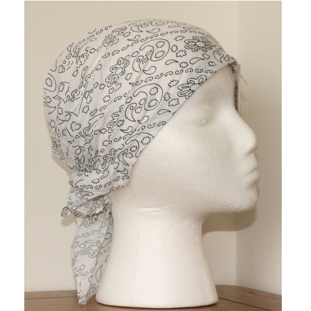 White Easy to Tie Bandana Style Headscarf Black Paisely Pattern