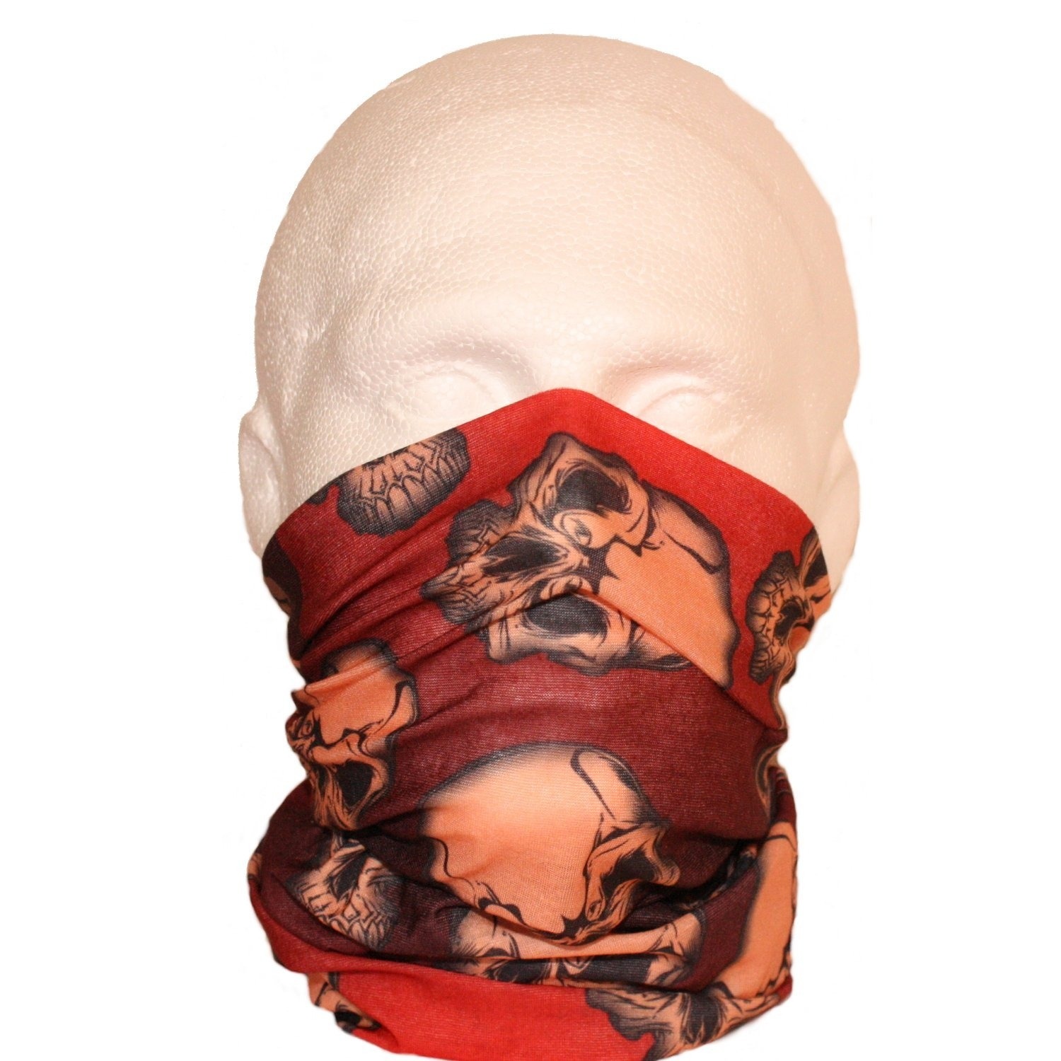12 in 1 Neck Tube Snood Scarf Red Jumbled Skulls