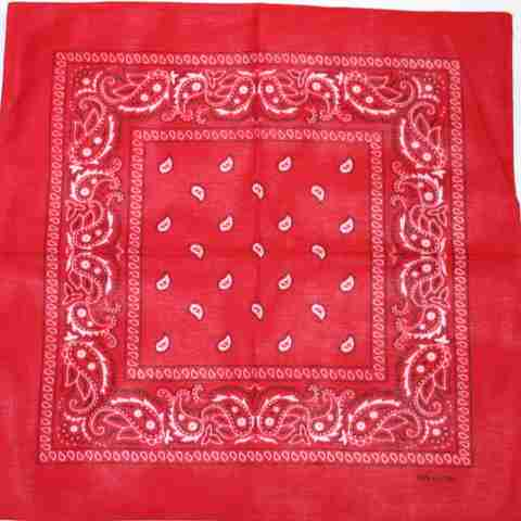 LARGE bandana scarf RED black white Classic paisley pattern