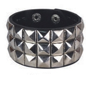 SILVER pyramid stud studded wristband strap