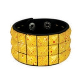 YELLOW PAINT SPATTERED pyramid stud studded wristband strap