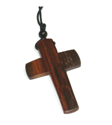 Wooden Cross Pendant on Black rope thong