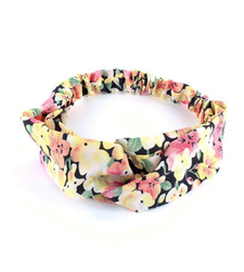 Black Pansy Flowers Twist Front Stretchy Headband Hairband