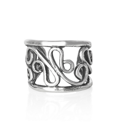 Twisted Vines Wide Ear Cuff in 925 Silver