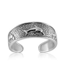 925 Sterling Silver Toe Ring Dolphins