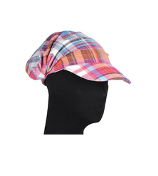Red Blue Checked Peaked Baseball Style Cap Hat