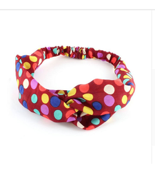 Red Polka Dot Twist Front Stretchy Headband Hairband