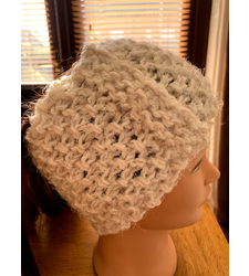 Hand Knitted White Cream Dusky Pink Wide Headband