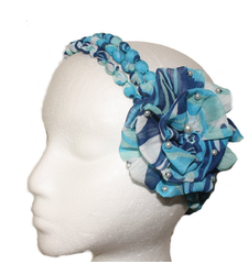 Blue White Rosette Pearl Headband Hairband