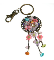 Metal Keyring Bag Charm Beaded Floral Disc