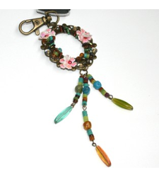 Metal Keyring Bag Charm Beaded Floral Wreath