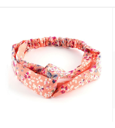 Peach Flowers Twist Front Stretchy Headband Hairband