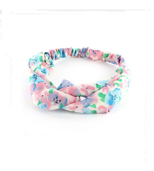 Pink Blue Flowers Twist Front Stretchy Headband Hairband