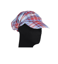 Purple Red Checked Peaked Baseball Style Cap Hat
