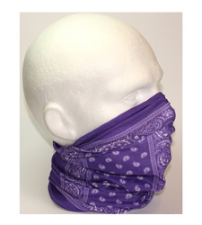 Neck Tube Snood Scarf Purple White Block Paisley