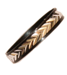 Black Silver Metal Thumb Half Ring Herringbone Costume Jewellery