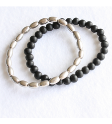 Pair of Stretchy Wooden Beaded Bracelets Silver Black