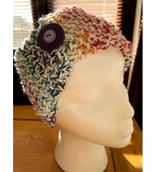 Hand Knitted Wide Headband Multicoloured White