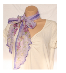Purple Sheer Slim Scarf Flowers Scalloped Edge