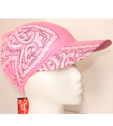 Pink Paisley Peaked Baseball Style Cap Hat