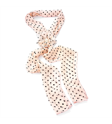 Pink Black Polka Dot Scarf and Flower Clip Set