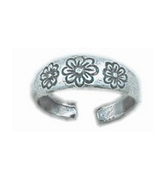 925 Sterling Silver Toe Ring 3 Daisy Flowers