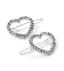 Pair of Crystal Open Heart shaped Hair Clips