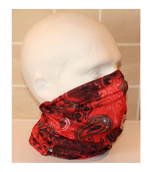 Black Red Paisley Neck Tube Snood Scarf