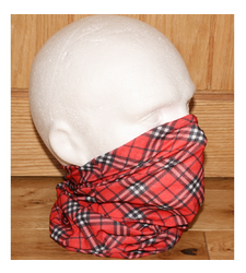 Red Black White Tartan Check Neck Tube Snood Scarf