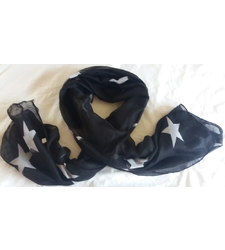Black White Stars Cotton feel Large Scarf Sarong for beach holid
