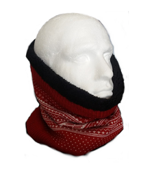 Reversible Tube Snood Neck Scarf Black Fleece Lined Red White
