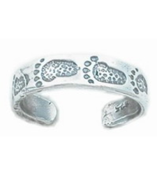 Footprints Toe Ring in 925 Silver