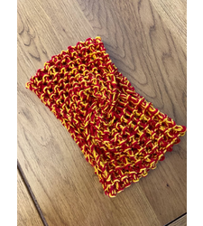 Hand Knitted Wide Headband Twist Front Red Yellow