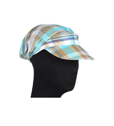 Blue Black Checked Peaked Baseball Style Cap Hat