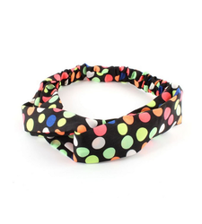 Black Polka Dot Twist Front Stretchy Headband Hairband