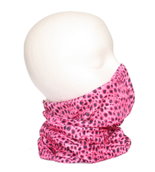 Leopard Print Neck Tube Snood Scarf Pink White Black