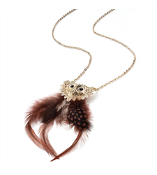 Feather Owl Pendant and Chain