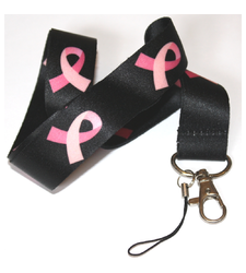 Pink Ribbon Breast Cancer Awareness LANYARD Black