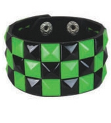 BLACK GREEN pyramid stud studded wristband strap