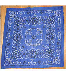 Extra Large Cotton Bandana Scarf Texas Pattern Royal Blue Black