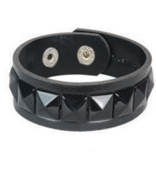 BLACK single row pyramid stud studded wristband strap