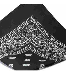 LARGE bandana scarf BLACK with WHITE Classic paisley pattern