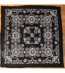 Extra Large Cotton Bandana Scarf Texas Pattern Black White