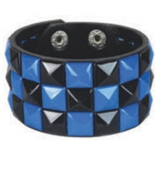 BLACK BLUE pyramid stud studded wristband strap