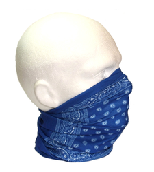 Royal Blue White Paisley Neck Tube Snood Scarf