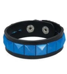 BLUE single row pyramid stud studded wristband strap