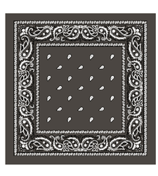 LARGE bandana scarf GREY Black with White Classic paisley patter